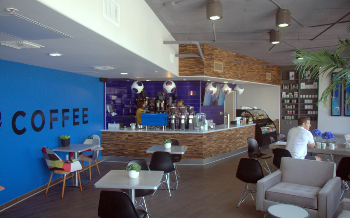 wide view of press coffee