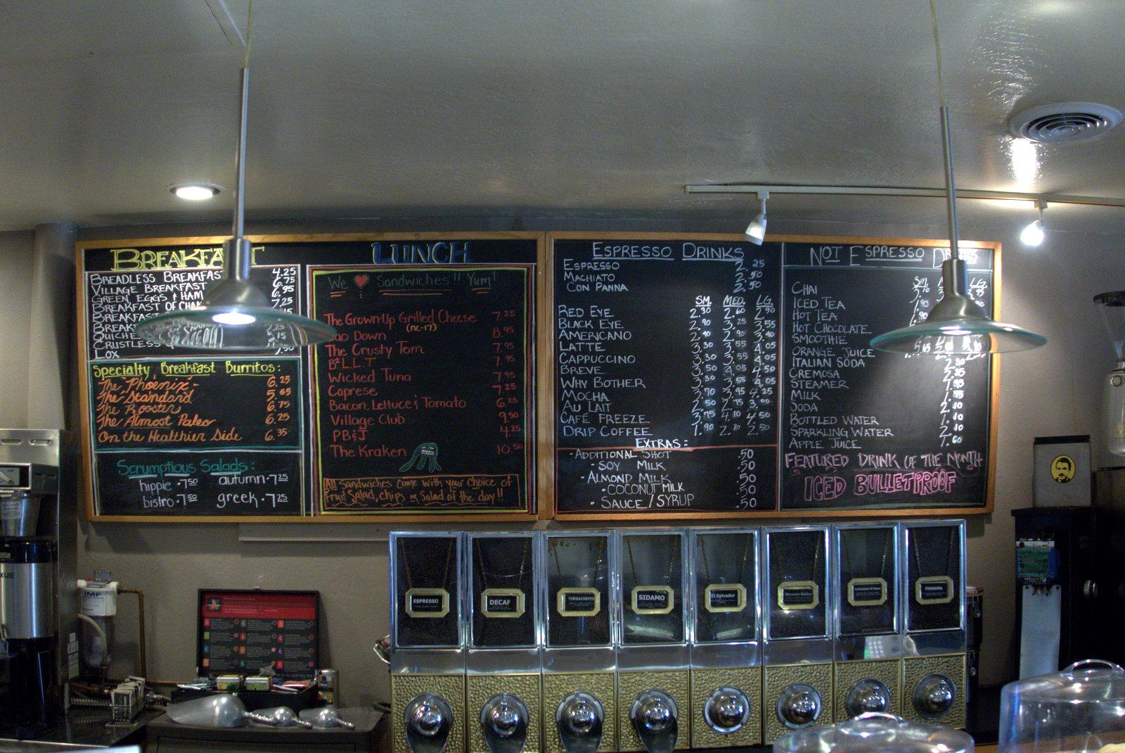 menu at village coffee roasters